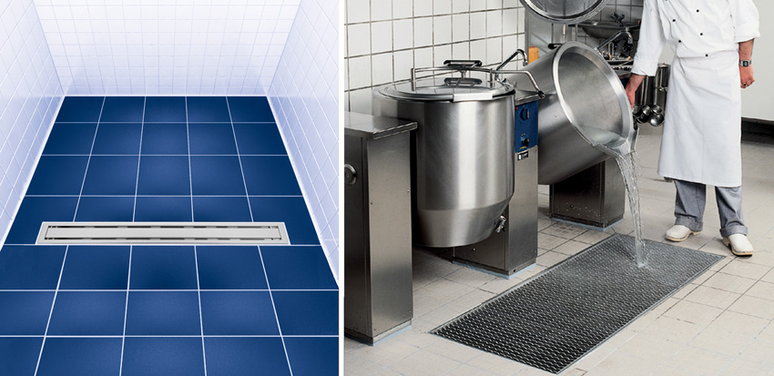 Left: Stainless steel drainage diagram, right:a man draining water into a stainless steel drainage system