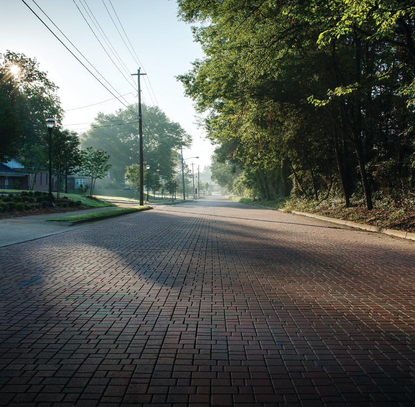 Brick road in a suburb area
