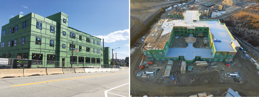 Integrated sheathing and tape systems in multifamily construction
