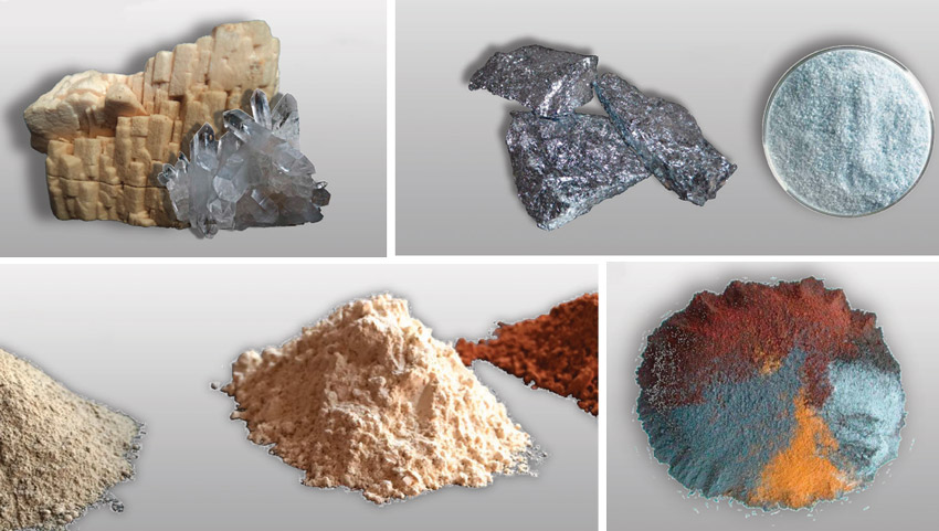 Sintered stone is made of all natural ingredients. This image is showing different types of sintered stone