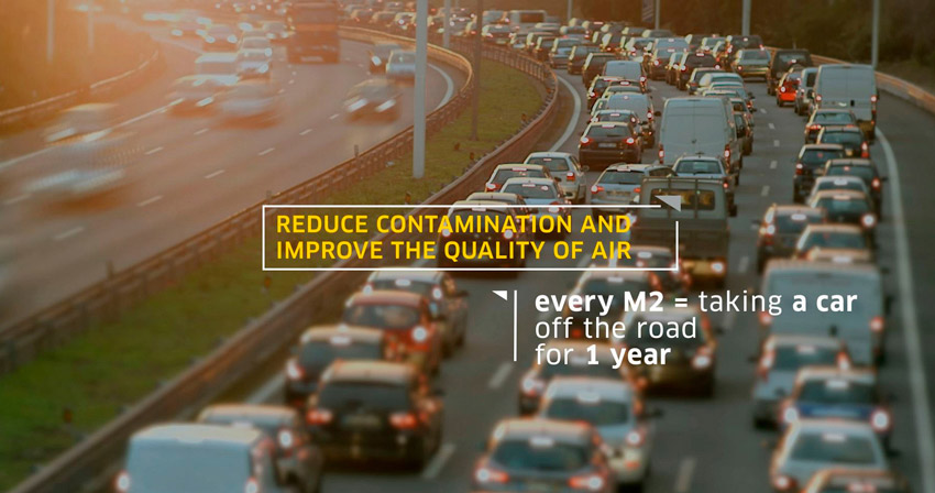 Image of cars in traffic with quote Reduce contamination and imporved the quality of air